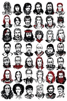 42 Heads From 'Game Of Thrones': Illustrated Print with Portraits of Major Characters – magazine. Game of thrones. Game of thrones. Game of Thrones Tyene Sand Dessin Game Of Thrones, Arte Game Of Thrones, Game Of Thrones Facts, Game Of Thrones Quotes, Game Of Thrones Cartoon, Game Thrones, Game Of Thrones Characters, Casas Game Of Thrones, Game Of Throne Poster