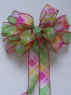Pink Green Spring Wedding Pew Bows Pastel Bows by greentraderllc,