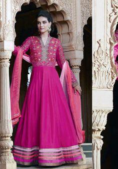 Outstanding Rani Pink Georgette Designer Suit - Luxefashion Internet Inc