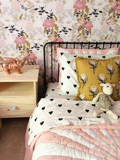Our Big Girl's Room — Small Town Flock Shared Girl's Room // Floral Wallpaper Small Room Design, Kids Room Design, Black Bedding, Little Girl Rooms, My New Room, Bedroom Decor, Bedroom Lighting, Modern Bedroom, Modern Girls Rooms