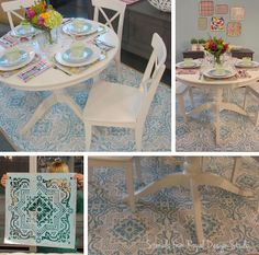 Using a wall stencil to transform a plain rug. SUCH a pretty dining room!