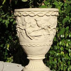 """Sparrows Urn by Designer Stone. H13"""" x W9"""" 14lbs. Handcrafted solid cast stone. Made in the USA. Available in 4 colors. Shown in Classic"""
