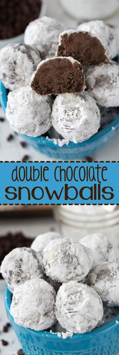 This Double Chocolate Snowball Cookies Recipe is so easy to make! The best holid… This Double Chocolate Snowball Cookies Recipe is so easy to make! The best holiday cookie, filled with rich chocolate, perfect for all year! Chocolate Snowball Cookies Recipe, Chocolate Snowballs, Chocolate Recipes, Chocolate Chips, Chocolate Lovers, Chocolate Christmas Cookies, Divine Chocolate, Double Chocolate Cookies, Christmas Chocolates