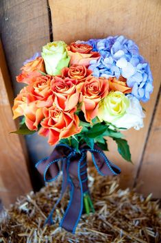 Orange Colored Wedding Bouquet