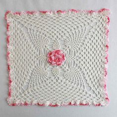 Pineapple & Rose Granny Square Doily Crochet Pattern