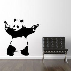 Banksy bevæbnet panda wallsticker wallsticker