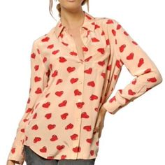"""HP Equipment heart print silk blouse. Sz L. Equipment heart print blouse. NWT. 29"""" from shoulder to hem 21"""" across chest. Too long for me. My loss is your gain. Equipment Tops Blouses"""