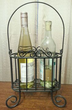 Love this Tabletop Wine Bottle Holder or Wine Rack for Two Bottles with Carrier Handle in Home