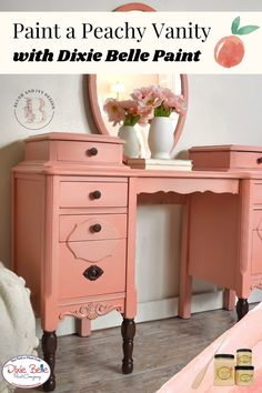 Transform a vintage vanity using Chalk Mineral Paint! Add a pop of color to your furniture using the colors Apricot, Tea Rose, Soft Pink, and Flamingo by Dixie Belle Paint! This peach dressing table is perfect for a tropical, boho bedroom! Orange Painted Furniture, Painted Furniture For Sale, Bohemian Design, Boho, Peach Paint, Dixie Belle Paint, Pale Orange, Mineral Paint, Vintage Vanity
