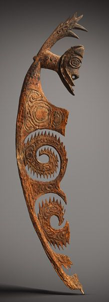 National Gallery Australia Korewori Caves region Hunter's helper figure [aripa] c. 1480-1670 AD wood, ochre height 174.5 h x 32.0 w x 6.5 d cm