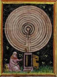 Vatican Biblioteca Apostolica Vaticana Pal lat 291 detail of f Rabanus Maurus De rerum naturis Of the Nature of Things 1425 Medieval Manuscript, Medieval Art, Illuminated Manuscript, Labyrinth Maze, Arte Tribal, Illustration, Sacred Geometry, Middle Ages, Statues