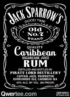 Sparrow's Rum  By choquefrontal | £8/€10/$12 | Cool Graphic Funny Tee Shirts