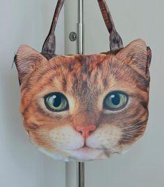 Yellow cat bag, yellow cat lover tote, yellow cat portrait bag, yellow cat print tote, pet lover bag, animal portrait bag, C014