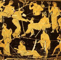 Birth of Dionysos - Museo Nazionale Archeologico di Taranto, Taranto, Italy. Catalogue Number: Taranto 826. Apulian Red Figure. Krater, volute. ca 405 - 385 BC