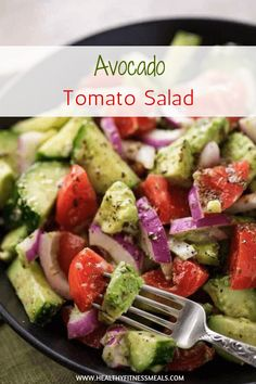 AVOCADO TOMATO SALAD This fresh and delicious Avocado Tomato salad recipe is ma.--AVOCADO TOMATO SALAD This fresh and delicious Avocado Tomato salad recipe is made with cucumbers, tomatoes, and avocados mixed in with a unique and flavorful dressing. Salad Recipes Healthy Lunch, Avocado Salad Recipes, Easy Salads, Healthy Salad Recipes, Summer Salads, Healthy Foods To Eat, Vegetarian Recipes, Cooking Recipes, Avocado Food