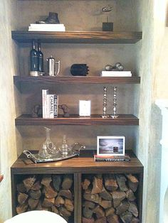 Good Pictures Fireplace Remodel with shelves Thoughts under stairs with wine fridge in the bottom for bar Fireplace Built Ins, Home Fireplace, Fireplace Remodel, Fireplace Shelves, Fireplaces, Alcove Ideas Living Room, Living Room Shelves, Living Room Designs, Bedroom Ideas
