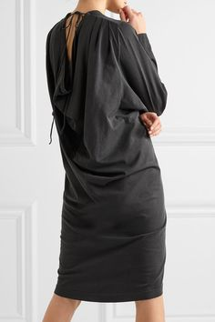 Balenciaga - Draped Washed Cotton-jersey Dress - Black - FR36