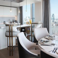 """231 Likes, 4 Comments - Rachel Winham Interior Design (@rachelwinhaminteriordesign) on Instagram: """"Kitchen and dining area with the most amazing views of London at our Southbank Tower project!…"""""""