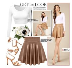 """""""Get the Look-Simlu Clothing"""" by simlu-clothing ❤ liked on Polyvore featuring Manolo Blahnik, skirt, skater and simlu"""