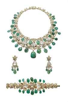 A SET OF EMERALD AND DIAMOND JEWELLERY, BY MOUAWAD   The necklace designed as a line of table-cut diamond collet clusters interspersed by brilliant-cut diamonds with emerald beads, and suspending at the front a row of larger table-cut diamonds alternated with diamond-set flowers, to the fringe of emerald beads, a bracelet and a pair of ear pendants en suite, mounted in gold