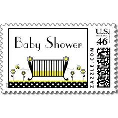 Perfect Baby Bee shower postage stamps