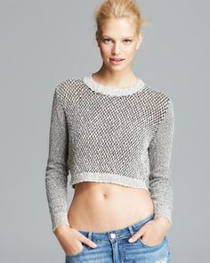 Olivaceous Sweater - Crop Textured