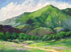http://karenwinters.com/kblog/2008/06/12/california-impressionist-oil-painting-mountain-landscape-spring-karen-winters-art/