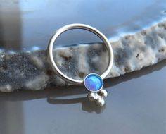 septum ring 16g  blue opal septum ring  tribal septum ring