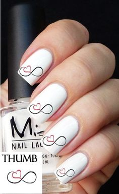 """simple Valentine's Day heart nail art with """"8"""" shape for girls, 2015 Valentines Day heart Nails Art - Manicure 2015 can always give me a reason to smile by july-2"""