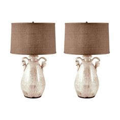 Titan Lighting 26 in. Twisted Handle Terra Cotta Cream Table Lamp Set