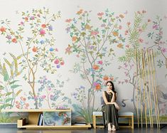 Chinoiserie Mural Wallpaper Repeat, Home Decor Wall Murals, Blooming Peoni and flowers Birds Wallpaper, Wall Decor, Wallpaper