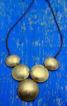 Vintage metal upcycled coin chain statement necklace by undun, €35.00