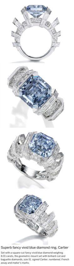 Beautiful Cartier extremely rare Vivid blue diamond ring