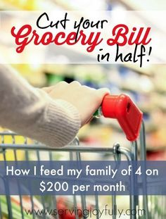 Cut your Grocery bill in Half! Learn how one mom feeds her family of 4 well...all on a grocery budget of $200/month! The keys to frugal grocery shopping.