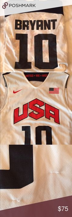 Men's USA Kobe Bryant basketball jersey. Men's size Medium (long fit) USA basketball jersey. Kobe Bryant. Great condition- a few snags (pictured). Nike Shirts Tank Tops