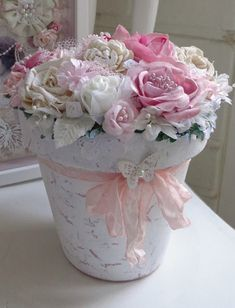 Shabby Chic Planter With Silk Roses