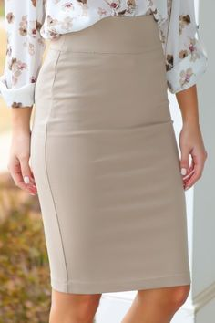 Closet Staple Piece! Must have, beige pencil skirt! Perfect for work or play! Want, need, love!