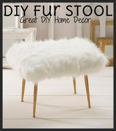 Learn how to create this modern and marvelous DIY fur stool! | DIY Home Decor
