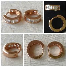 9K rose gold-filled hoop earrings with CZ bling @ AUD$12.00 + postage or local pick up available (2 in stock)