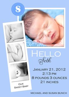 Baby Boy Photo Birth Announcement by BarefootPrinting on Etsy, $6.00