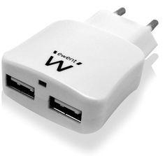 CARICATORE per SMARTPHONE e TABLET a 2 PORTE USB 2.1A - Input voltage: 100 - 240 AC - Output: 5 V DC - Output current: 2100 mA (10W)