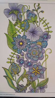 Creative Colouring Flowers. Book: Valentina Harper.  Coloured by Hannelie Saul
