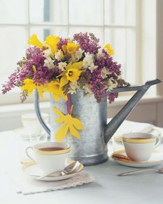 Beautiful Centerpiece - Flowers in Watering Can