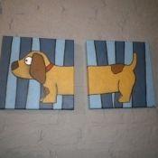 Tweeluik hondjes € 68,50. #schilderijtje #kinderkamer #Decodomus