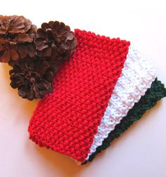Christmas Knit Dishcloth Pattern 6 Pack: Eco-Friendly Go Green DIY Tutorials - Instant Download - Decorating Gift