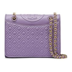 Tory Burch Fleming Medium Bag ($475) ❤ liked on Polyvore featuring bags, handbags, shoulder bags, evening handbags, chain shoulder bag, crossbody handbags, crossbody purse and purple purse