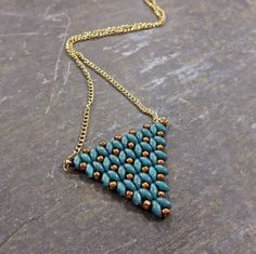 Blue Triangle Necklace  Turquoise and Bronz by Jewelsforhope