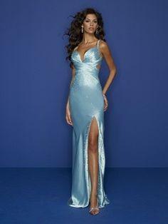 langes blaues rückenfreies Abendkleid aus Stretch Satin