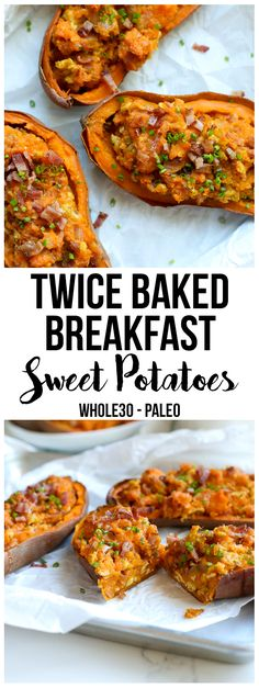 These Twice Baked Breakfast Sweet Potatoes recipe is perfect for a breakfast that everyone in the family will love! These Twice Baked Breakfast Sweet Potatoes recipe is perfect for a breakfast that everyone in the family will love! Whole 30 Breakfast, Sweet Potato Breakfast, Breakfast Bake, Paleo Breakfast, Breakfast Recipes, Breakfast Casserole, Breakfast Potatoes, Breakfast Ideas, Detox Breakfast