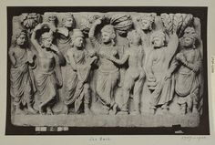 London, England (Photographed when on loan to the V&A in 1904, photographed)  Descriptive line  Photograph depicting a portion of a panel of talcose schist, the miraculous nativity of Gautama Buddha, from the Yusufzai district near Peshawar. Greco Buddhist (Gandhara School), Pakistan, 1st to 3rd century.